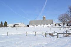Modern barn in snowy field Stock Photo