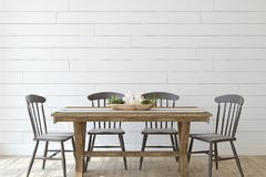 Free Modern Farmhouse Dining-room. 3d Render Stock Photography - 148765622