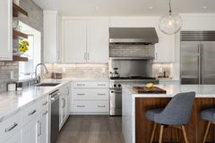 Free Modern Farmhouse Kitchen Remodel Horizontal Horizontal Orientation Stock Image - 139776351
