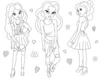 Modern fashion girls. Coloring book page, hands drawing work Stock Photo