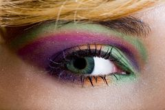 Modern fashion green violet makeup of a female eye. Macro shot Royalty Free Stock Photo