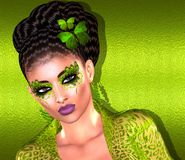 Modern fashion, hairstyle and beauty scene with butterflies in hair, green gradient background. That matches the woman`s make up and accessories. Our unique 3d vector illustration
