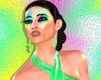 Modern fashion,hairstyle and beauty scene with colorful pastel gradient background. That matches the woman`s make up and accessories. Our unique 3d rendered royalty free illustration
