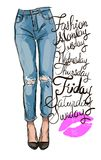 Modern fashion illustration. Fashion illustration of femail legs in blue skinny jeans with holes Stock Photography