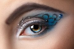 Modern fashion makeup of a female eye Royalty Free Stock Images