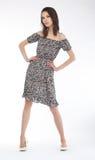 Modern fashion model european girl on podium Royalty Free Stock Photos