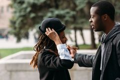 Modern fashion style. Happy young black couple stock photo