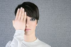 Modern fashion woman portrait hand hide eye Stock Photo