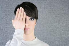 Modern fashion woman portrait hand hide eye Stock Photo