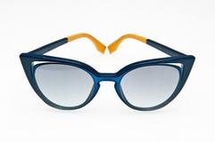 Fashionable blue sunglasses of Fendi brand stock photography