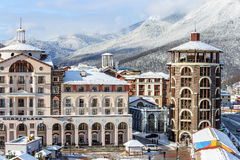 Modern fashionable hotels and apartments of Gorky Gorod resort`s accomodation infrastructure. Sochi, Russia - January 9, 2015: Modern fashionable hotels and royalty free stock photography