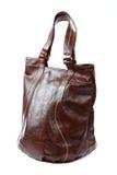 Modern fashionable leather female bag on white background. Stock Image