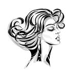 Modern fashionable woman. Sensual portrait of a beautiful modern fashionable and glamor woman with curly locks in profile. Vector Royalty Free Stock Images