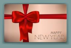 Modern fast kort för lyckligt nytt år med den röda pilbågen och rött Royaltyfri Foto
