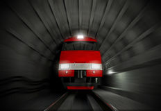 Modern fast locomotive in the dark tunnel Stock Photography