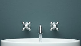 Modern faucet on green wall Royalty Free Stock Photography