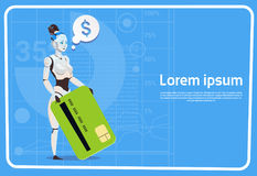 Modern Female Robot Hold Credit Card Futuristic Artificial Intelligence Technology Concept Royalty Free Stock Photography