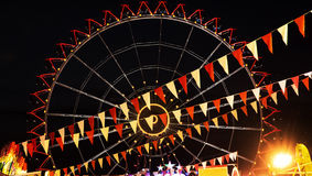 Modern ferris wheel in the night, amusement park. Modern ferris wheel in the night. Free time activities. Amusement park. Russian wheel stock image