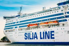 Modern ferry boat Silja Line at pier awaiting Royalty Free Stock Images