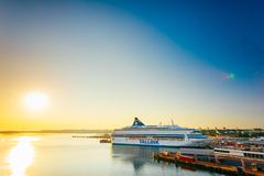 Modern Ferry At Pier. Early Morning With Beautiful Stock Photography