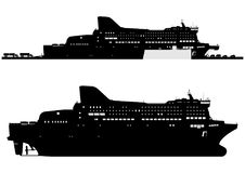 Modern ferryboat. Silhouette of a modern ferryboat. Side view.Flat vector in two colors Stock Photography