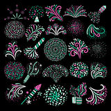 Modern Festive Firework Icons Collection. Modern festive colorful various types firework icons big set on black background poster abstract  vector illustration Stock Photos