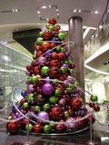 Modern Festive Indoor Christmas Tree Display royalty free stock images