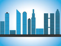 Modern fictional skyscraper skyline, cityscape, blue gradient Stock Photography