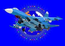 Modern fighter. Airforce. Fighter in the abstract background with an image of the Earth surrounded by stars Stock Photo