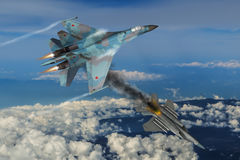 Modern fighter dogfight Royalty Free Stock Images