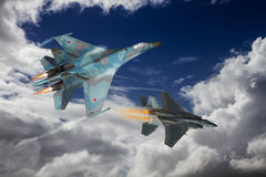 Modern fighter dogfight. A dog fight between 2 modern jet fighters. American vs Russian made aircraft. Computer Illustration Stock Photo
