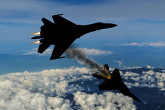 Modern fighter dogfight Royalty Free Stock Photo