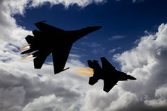 Modern fighter dogfight Royalty Free Stock Image