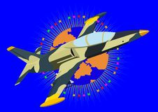 Modern fighter-interceptor. Airforce. Fighter in the abstract background with an image of the Earth surrounded by stars Stock Photography