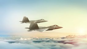 Modern fighter jets flying at dusk or sunrise. 3D illustration. royalty free stock images