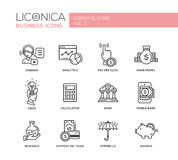 Modern finance and business line flat design icons, pictograms set. Set of modern vector finance simple thin line flat design icons and pictograms. Analytics Royalty Free Stock Photo