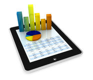 Modern financial analysis. One computer tablet showing a spreadsheet with some 3d charts over it (render Royalty Free Stock Photo
