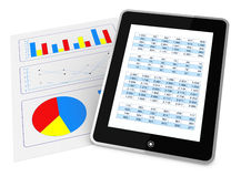 Modern financial analysis. One paper with charts and a tablet that shows a spreadsheet, concept of tecnology supporting the financial analisys (3d render Stock Photography