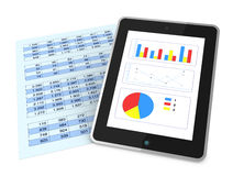 Modern financial analysis. One paper with  a spreadsheet and a tablet that shows charts, concept of technology supporting the financial analisys (3d render Royalty Free Stock Photography