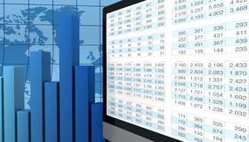 Modern financial analysis. Computer, spreadsheet and charts to show the concept of modern tools for financial and market analysis (3d render Royalty Free Stock Photography