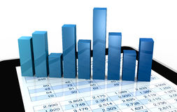 Modern financial analysis. Computer, spreadsheet and charts to show the concept of modern tools for financial and market analysis (3d render Stock Photo