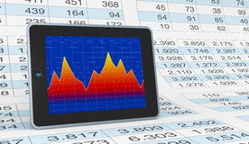 Modern financial analysis. Computer, spreadsheet and charts to show the concept of modern tools for financial and market analysis (3d render Royalty Free Stock Image