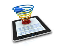 Modern financial analysis. One computer tablet showing a spreadsheet with a 3d charts over it (render Stock Image