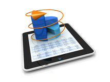 Modern financial analysis. One computer tablet showing a spreadsheet with a 3d charts over it (render Stock Photography