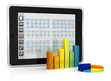 Modern financial analysis. One tablet pc with a buttons interface, that shows a spreadsheet. there are two charts in front of it  (3d render Royalty Free Stock Images