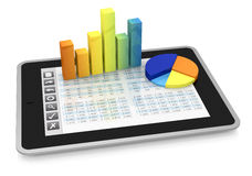 Modern financial analysis. One tablet pc with a buttons interface, that shows a spreadsheet. there are two charts over the display  (3d render Royalty Free Stock Photo