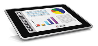 Modern financial analysis. One tablet pc with a buttons interface, that shows a spreadsheet and charts (3d render Royalty Free Stock Images
