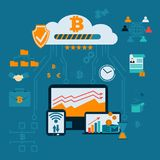 Modern financial infographic. Mining farm. Bitcoin crypto currency surrounded by cryptocoins or digital currency coins, with computers and gadgets.Vector Stock Photography