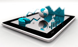 Modern financial instruments graphs, charts and Earth globe on a tablet screen. 3d rendering Royalty Free Stock Image