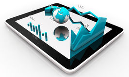 Modern financial instruments graphs, charts and Earth globe on a tablet screen. 3d rendering Stock Images